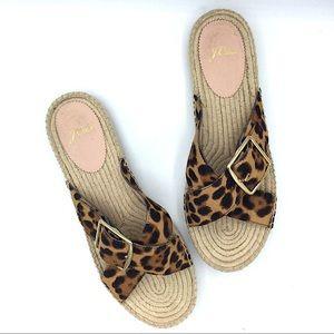 J. Crew Espadrille Leopard Print Calf Hair Sandal